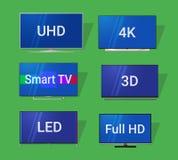 Moderne Fernsehflache Ikonen Lizenzfreie Stockbilder