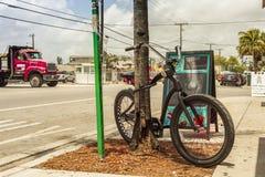 Moderne fiets buiten tatoosalon bij creatieve Wynwood en kunsten dis Stock Afbeeldingen