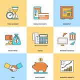 Moderne financiële lijnpictogrammen Stock Fotografie