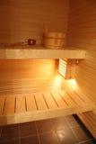 Moderne finnische Sauna Stockfotografie