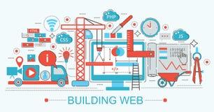 Moderne flache dünne Linie Design Website-Gebäudefortschritt Stockbild