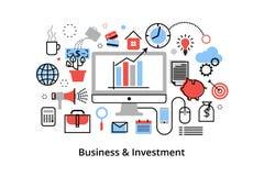 Moderne flache dünne Linie Designvektorillustration, infographic Konzept mit Ikonen der Investierung zum Geschäft und Finanzproze Stockfoto