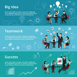 Moderne flache dünne Linie Designvektorillustration, Konzepte der kreativen großen Idee, Teamwork-Prozess und Erfolg im Geschäft lizenzfreie abbildung