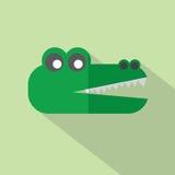 Moderne flache Design-Krokodil-Ikone Stockbilder