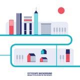 Moderne flache Designart des Stadtbildhintergrundes Stockfotos