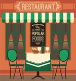 Moderne flache Designillustration des Vektors des Restaurants Stockfotos
