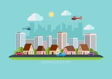 Moderne flache Designstadtlandschaftsillustration Stockfoto