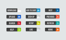 Moderne flache Designwebsite-Navigationsknöpfe Lizenzfreies Stockbild