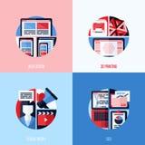 Moderne flache Ikonen des Webdesigns, 3D Drucken, Social Media, SEO Lizenzfreies Stockbild
