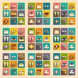 Moderne flache Ikonen vector Sammlung mit Schattenmode Lizenzfreies Stockfoto