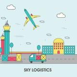 Moderne flache Illustration von Himmel-Logistik Stockfotografie