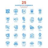 Moderne flache Linie Farbikonen Einkauf und elektronischer Geschäftsverkehr Stockfotografie