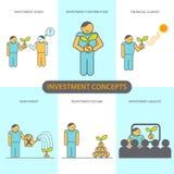 Moderne flache Linie Konzept des Entwurfes der Finanzinvestition, Investition gibt, Finanzklima heraus Lizenzfreie Stockbilder