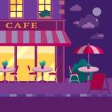 Moderne flache Vektorillustration Café im Freien im europäischen St. Lizenzfreie Stockfotos