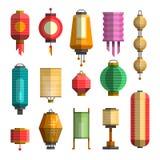 Moderne flache Vektorillustration mit verschiedenen Porzellanlaternen Stockfotografie