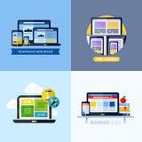 Moderne flache Vektorkonzepte des entgegenkommenden Webdesigns Stockfotos