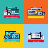 Moderne flache Vektorkonzepte des Webdesigns, SEO, Social Media Mrz Stockfoto