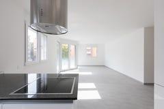 Moderne flat, lege ruimten en witte muren stock afbeeldingen