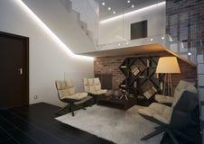 Moderne flat met woonkamer. Royalty-vrije Stock Foto's