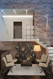 Moderne flat met woonkamer. Stock Afbeeldingen