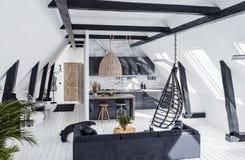 Moderne flat zonder tussenmuren in zolder, zolderstijl vector illustratie