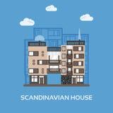 Moderne flats voor huur en het leven in Skandinavische stijl Multi storied stadshuis Stedelijk huis in de stadsscène van Europa Royalty-vrije Stock Foto's
