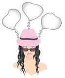 Moderne Frau in den Gläsern und ein Hut mit dem langen Haar und schöner Maniküre vector Illustration Stockbilder