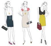 Moderne Frau in den verschiedenen Haltungen. Stockbild