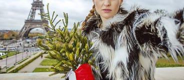 Moderne Frau mit dem Weihnachtsbaum, der selfie in Paris nimmt Stockfoto