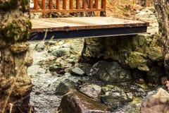 Moderne Fußbrücke, im Gebirgswald, über einem Strom stockbilder