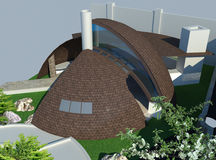 Moderne gazebo lucht 3D illustratie Stock Illustratie
