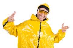 Moderne geïsoleerde danser in gele kleding Royalty-vrije Stock Afbeeldingen
