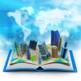 Moderne Gebäude auf Buch Lizenzfreies Stockbild