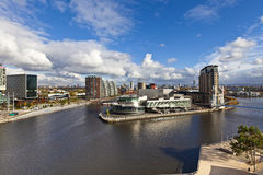 Moderne Gebäude in Manchester England. Stockfotografie