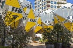 Moderne Gebäude-Stadt-Architektur-Gestaltungselemente bekannt als die Kubikhäuser entworfen von Piet Blom Lizenzfreie Stockbilder