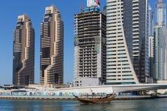 Moderne gebouwen in de Jachthaven van Doubai Stock Foto's