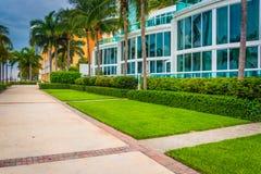Moderne gebouwen en gang in Zuidenstrand, Miami, Florida Stock Afbeeldingen