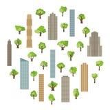 Moderne gebouwen en wolkenkrabbers met groene bomen in cirkel stock illustratie