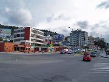 Moderne gebouwen, mensen, auto's op de straten van hoofdcit Royalty-vrije Stock Afbeelding