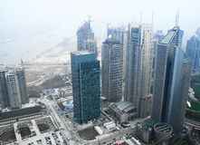 Moderne gebouwen in Shanghai Stock Afbeeldingen