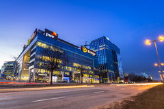 Moderne gebouwenarchitectuur van Olivia Business Centre in Gdansk Stock Foto