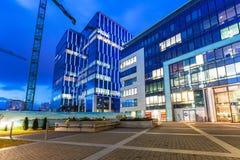 Moderne gebouwenarchitectuur van Olivia Business Centre in Gdansk Stock Afbeeldingen
