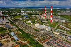 Moderne gecombineerde hitte en elektrische centrale Tyumen stock fotografie
