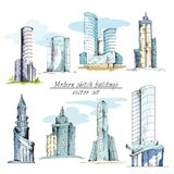 Moderne gekleurde schetsgebouwen vector illustratie