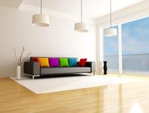 Moderne gekleurde woonkamer Stock Fotografie