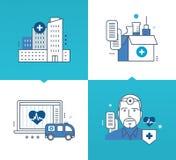 Moderne geneeskunde, technologie, hulpmiddelen, methodes van behandeling, geneesmiddelen stock illustratie