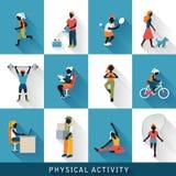 Moderne geplaatste fysische activiteitpictogrammen Stock Afbeeldingen