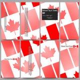 Moderne geplaatste vliegers Nationale Vlag van de Dag van Canada Samenvatting gestippelde vectorachtergrond Stock Afbeelding