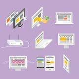 Moderne Geräte und Webseite Stockfoto