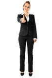 Moderne Geschäftsfrau, die Finger auf Sie zeigt Lizenzfreies Stockbild
